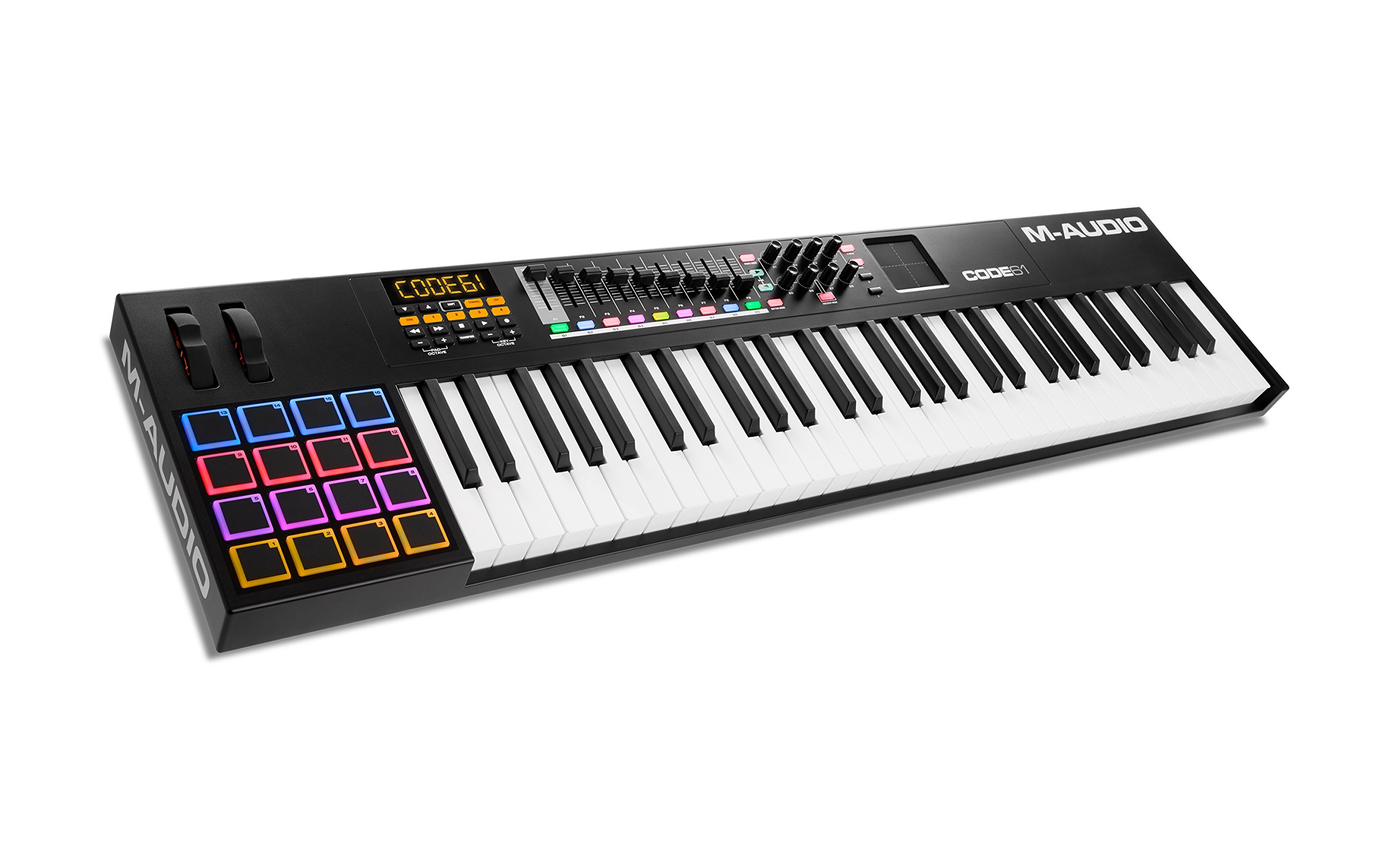 M-Audio Code 61 (Black) | USB MIDI Controller With 61-Key Velocity Sensitive Keybed, X/Y Pad, 16 Velocity Sensitive Trigger Pads & A Full-Consignment of Production/Performance Ready Controls by M-Audio