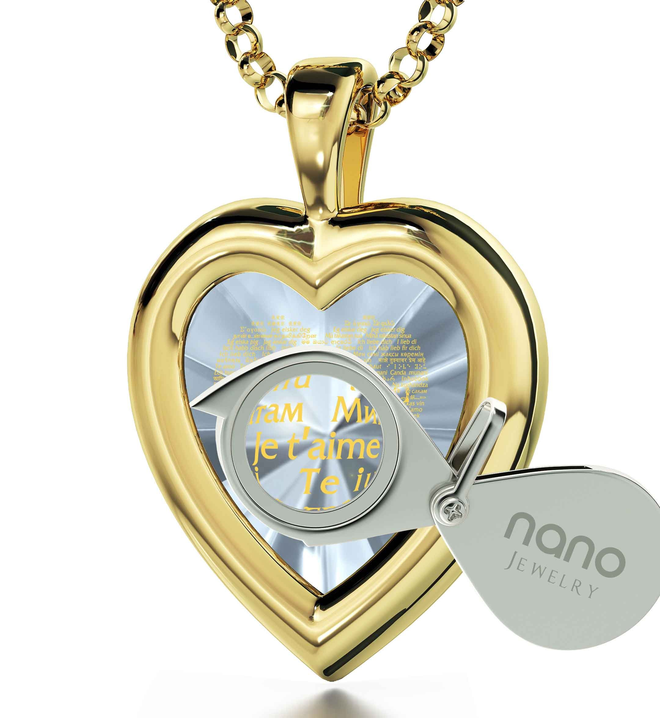 Gold Plated Heart Pendant I Love You Necklace 120 Languages 24k Gold Inscribed Clear CZ Gemstone, 18''