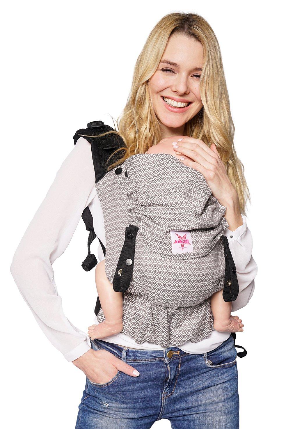 Babytrage: KOKADI/® Flip ✓ Neugeborene /& Kleinkinder ✓ Ergonomisch ✓ Steg verstellbar ✓ Bio-Baumwolle ✓ ab Geburt bis 20kg ✓ GRATIS Beutel Heart2Heart Baby