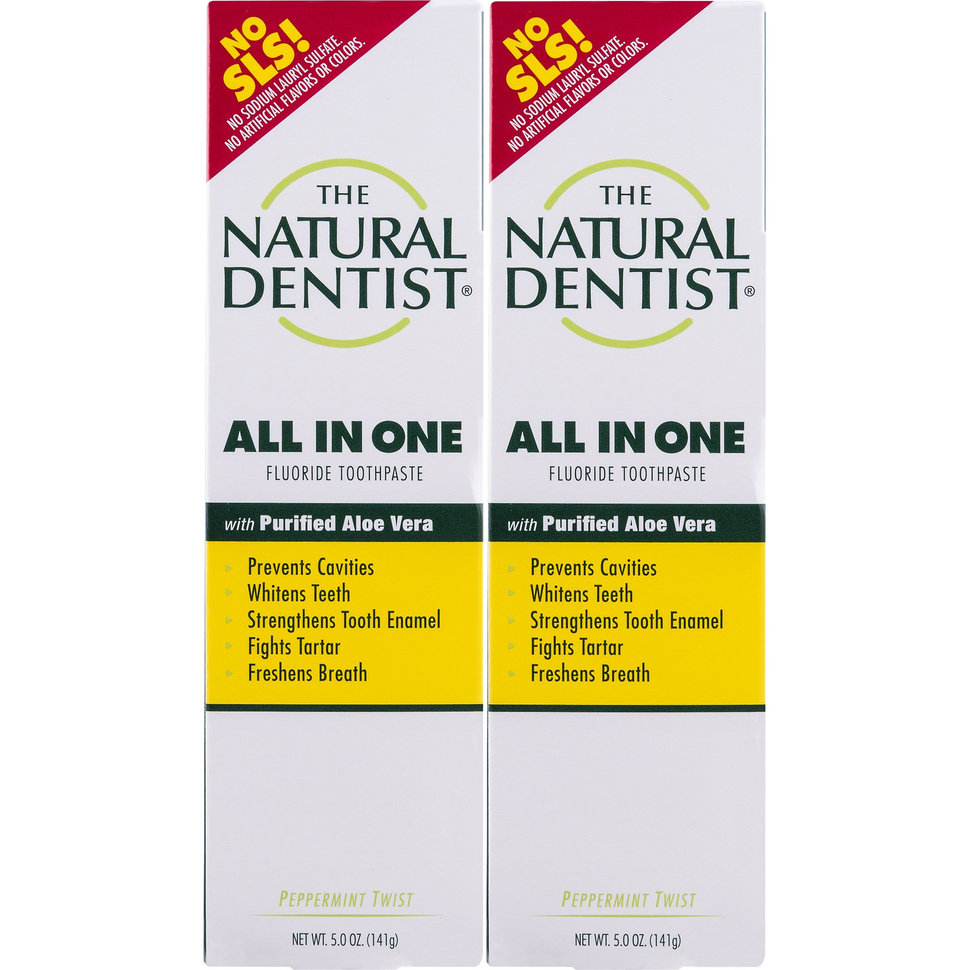 The Natural Dentist All In One Toothpaste, Peppermint Twist, 5 Ounce Tube (Pack of 2), Toothpaste for Daily Use, Reduces Plaque, Whitens Teeth, Helps Prevent Gingivitis and Cavities, No SLS