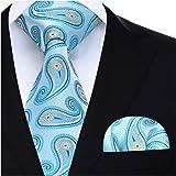 HISDERN Floral Paisley Wedding Tie Handkerchief Men's Necktie & Pocket Square Set