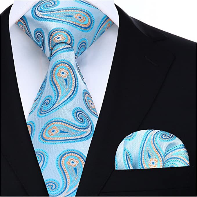 HISDERN Floral Krawatte Taschentuch Hochzeit Krawatte Einstecktuch Set fur Manner