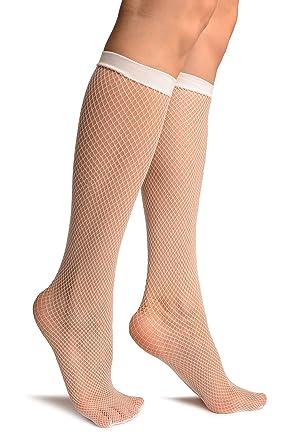 ad2f6861128 White Fishnet Knee High Socks - White Knee High Socks  Amazon.co.uk   Clothing