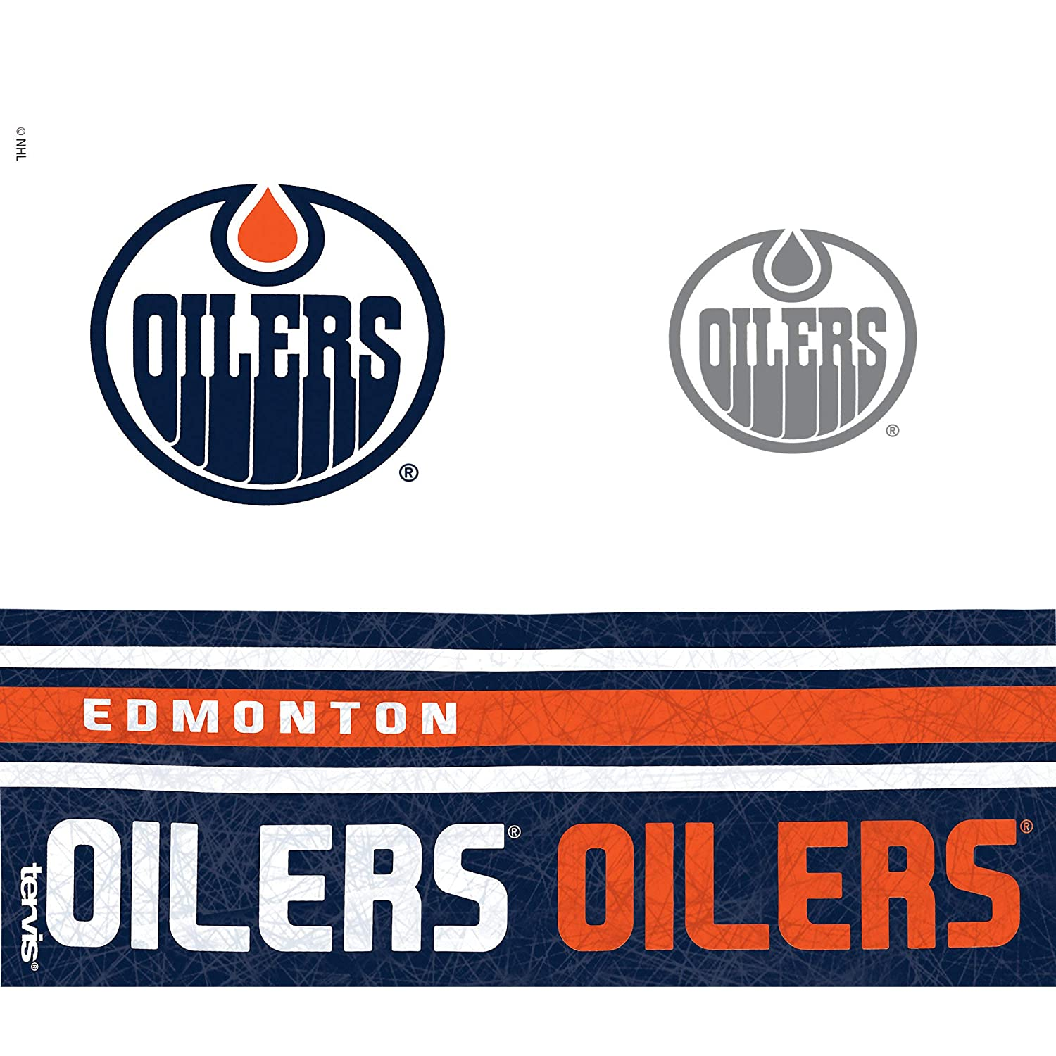 Wrap Clear 24 oz Tervis 1145511NHL Edmonton Oilers Water Bottle with Grey Lid