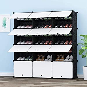 JOISCOPE MEGAFUTURE Portable Shoe Storage Organzier Tower, Modular Cabinet for Space Saving, Shoe Rack Ideal for Shoes, Boots, Slippers (3x7-tier)