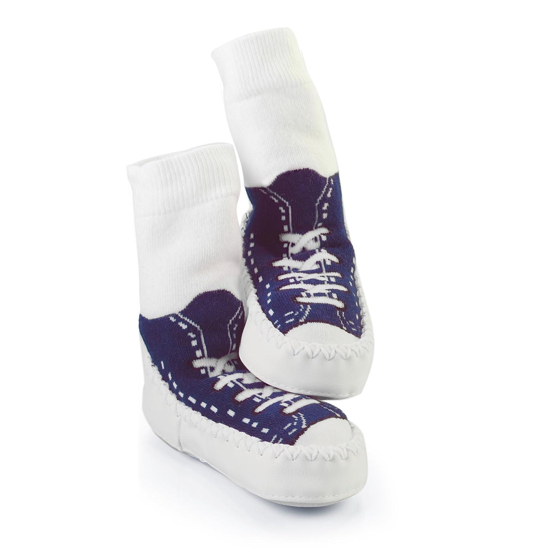 Mocc Ons Clever Little Slipper Socks Sneaker, 6-12 Months, Navy Blue MOCCONSSN6-12
