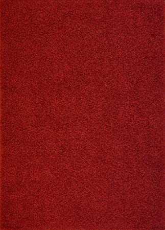 Nice RugStylesOnline Shaggy Collection Solid Color Shag Area Rugs, Dark Red