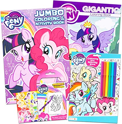 - Amazon.com: My Little Pony Coloring Book Super Set With Stickers (4 MLP  Books - Over 375 Pages And 75 My Little Pony Stickers Total Featuring  Rainbow Dash, Fluttershy, Pinkie Pie And More):