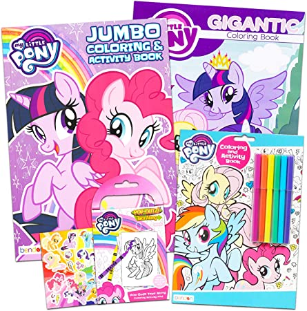 Amazon.com: My Little Pony Coloring Book Super Set With Stickers (4 MLP  Books - Over 375 Pages And 75 My Little Pony Stickers Total Featuring  Rainbow Dash, Fluttershy, Pinkie Pie And More):