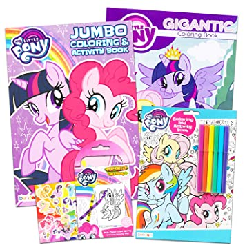 Buy My Little Pony Coloring Book Super Set With Stickers 3 Jumbo Books Approximately 200 Pages And 30 My Little Pony Stickers Total Featuring Rainbow Dash Fluttershy Pinkie Pie And More Online