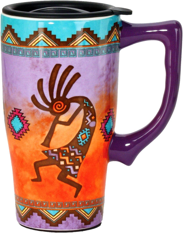 Spoontiques Kokopelli Ceramic Travel Mug, 18 ounces, Multi Colored