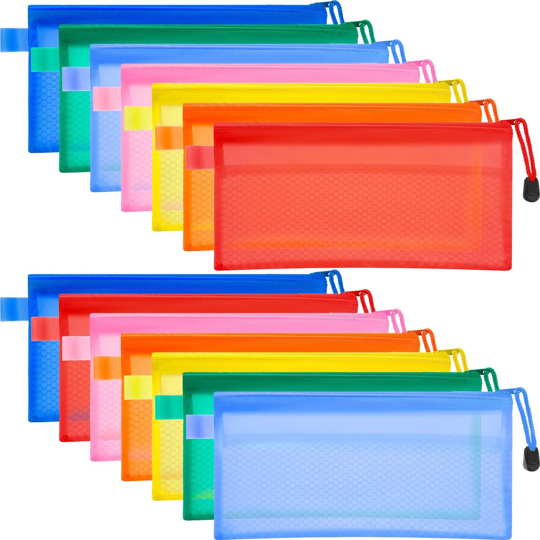 14 Pezzi 7 Colori Impermeabile Astuccio in Plastica Doppio Strato Borsa di File per Penna Matita Forniture per Cosmetici Viaggi Bememo