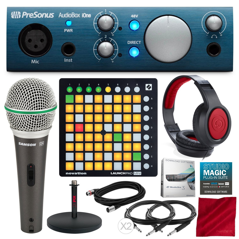 PreSonus AudioBox iOne 2x2 USB Recording System with Novation Launchpad Mini MK2 Ableton Live Controller, Samson Microphone, Xpix Mic Stand, and Premium Bundle