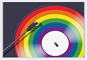 Kate and Laurel Sylvie Proud Vinyl Framed Canvas Wall Art by Rocket Jack, 18x24 White, Pride-Inspired Rainbow Wall Decor