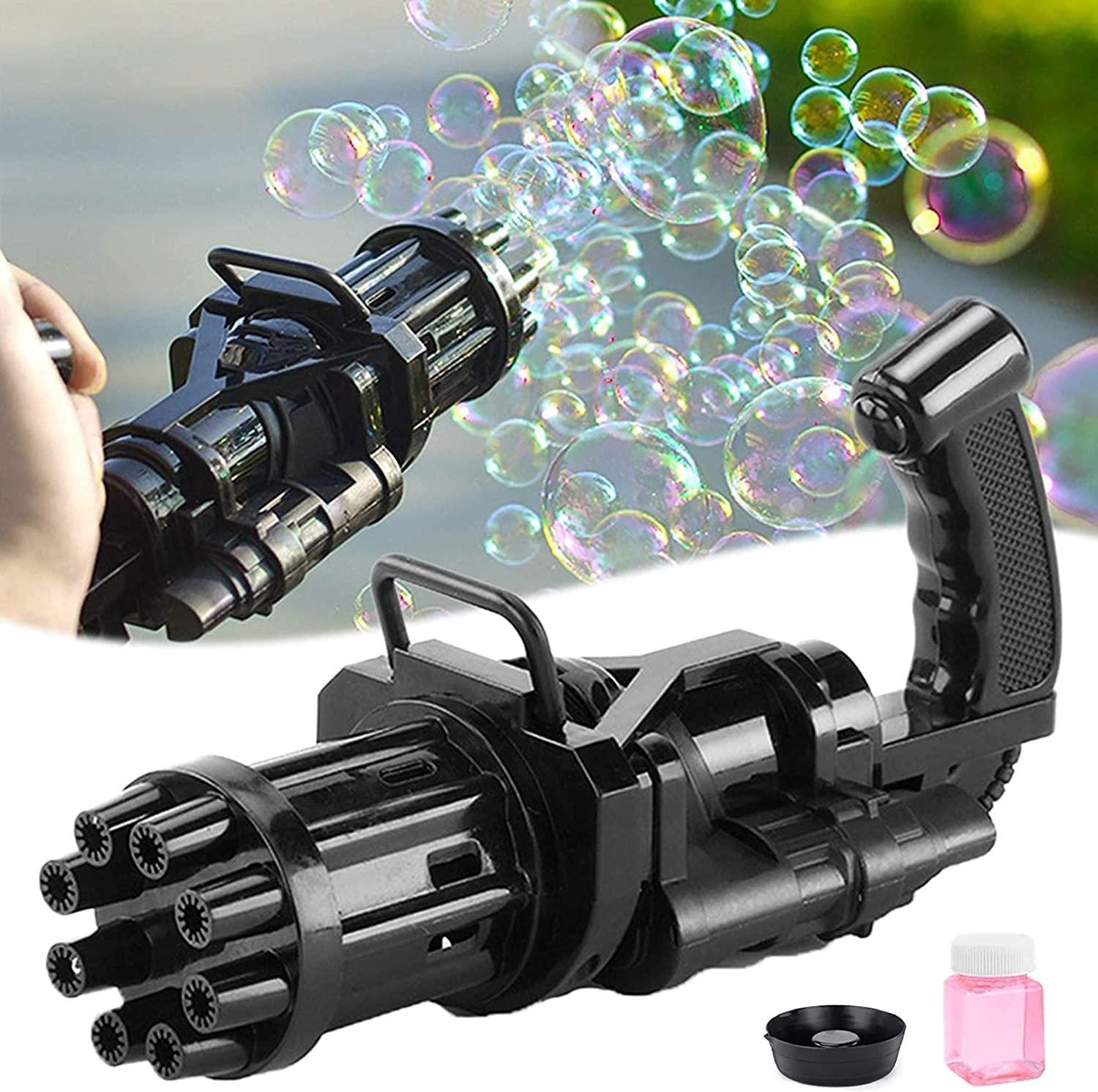 WYOY Bubble Machine Automatic Electric Gatling Bubble Guns Bubble Maker Outdoor Fun Kids Toys for Boys and Girls Color : Black