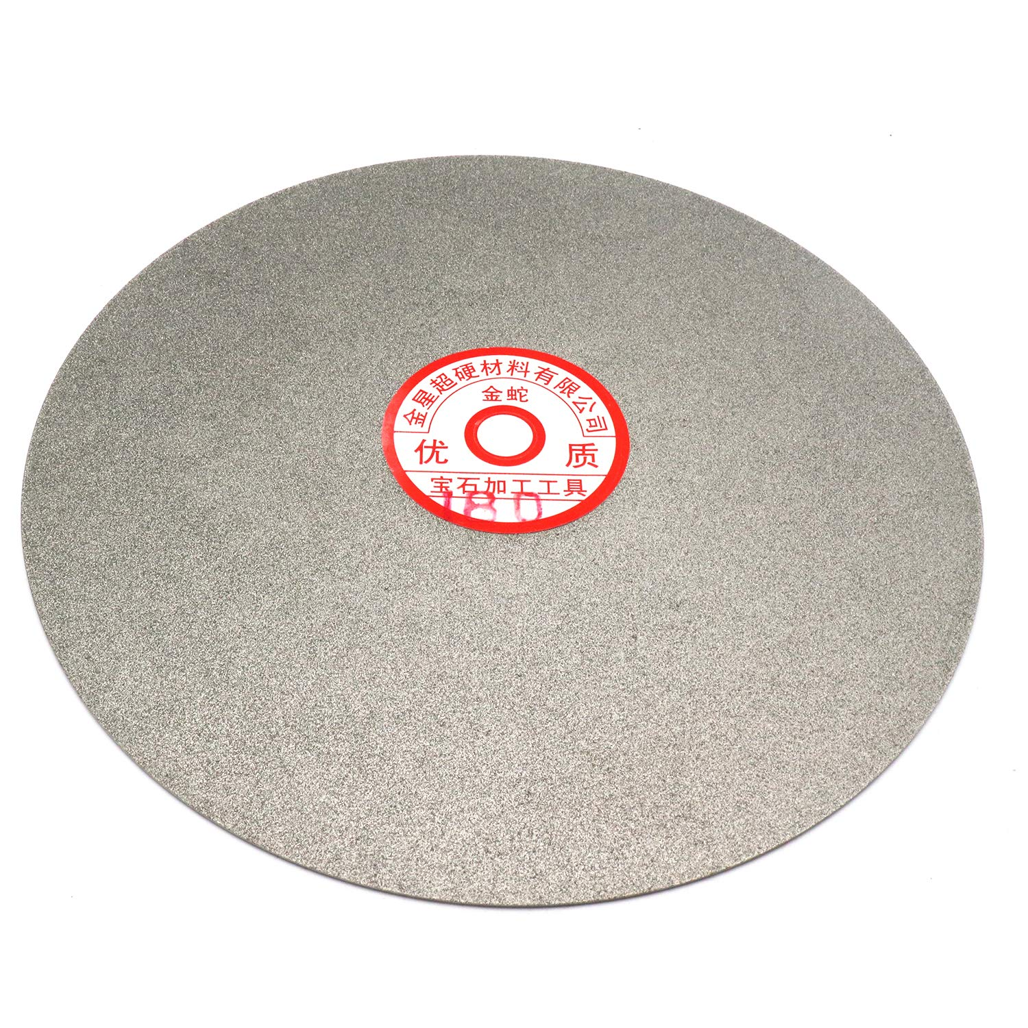 Rannb 180 Grit 8-inch Outside Dia Quality Electroplated Diamond Coated Flat Lap Disk Wheel Lapidary Wheel Disc Grinding Sanding Polishing Disc