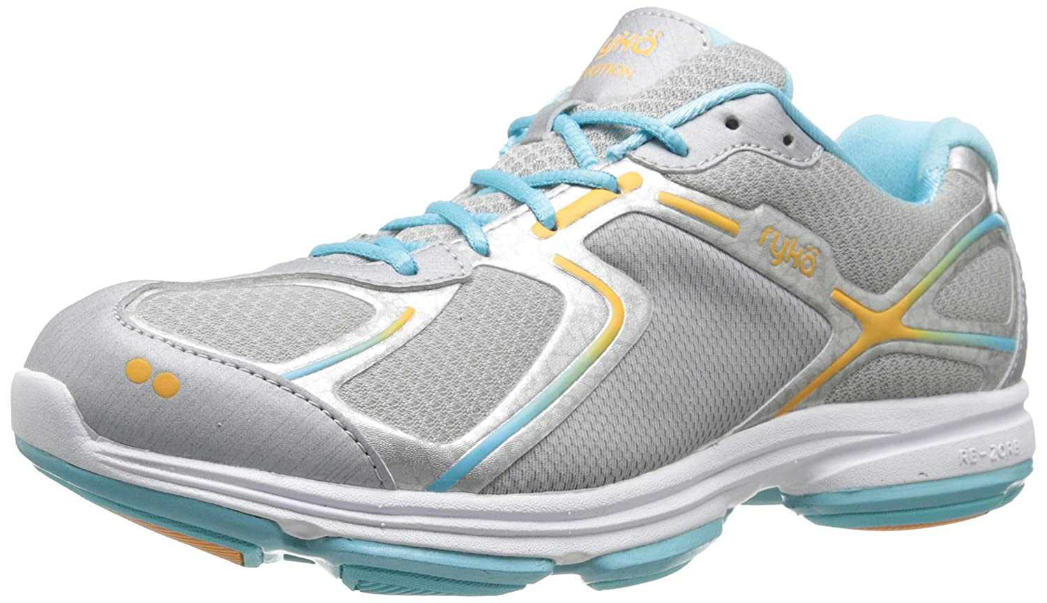 Ryka Women's Devotion Walking Shoe B00I9TUW66 11 W US|Chrome Silver/Nirvana Blue/Tangerine Orange