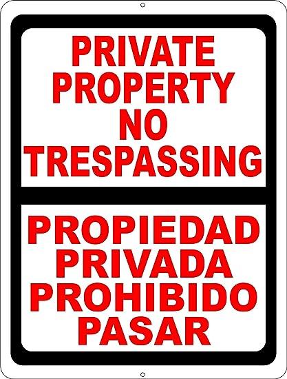 Amazon com : Bilingual Private Property No Trespassing Sign  English
