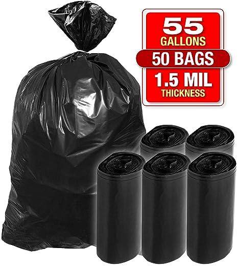 Bolsas de basura de plástico de 1,5 mil, bolsas negras ...