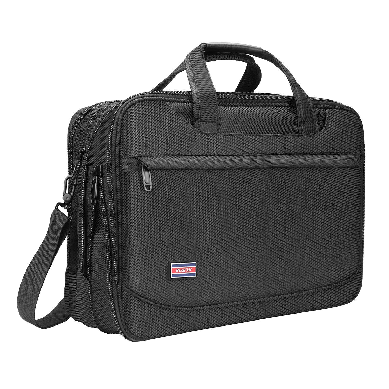 Briefcase for 17 Inch Laptop, Business Travel Bag, Expandable Large Hybrid Shoulder Bag, Water Resisatant Business Messenger Briefcases for Men - Black