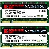 Komputerbay 4GB 2X2 800 SODIMM - Memoria RAM para iMac y MacBook (2x 2 GB, PC2-6300, 800MHz DDR2 SODIMM)