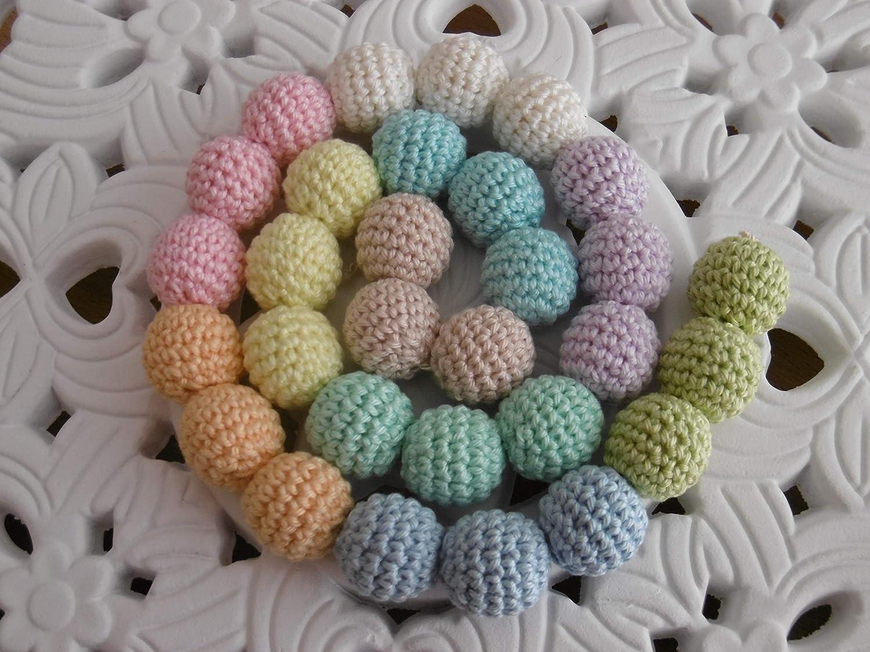 Häkelperlen 10 Häkelkugeln Häkelbälle Zahnen Tragetuchkette Basteln für Baby Beißring Greifring