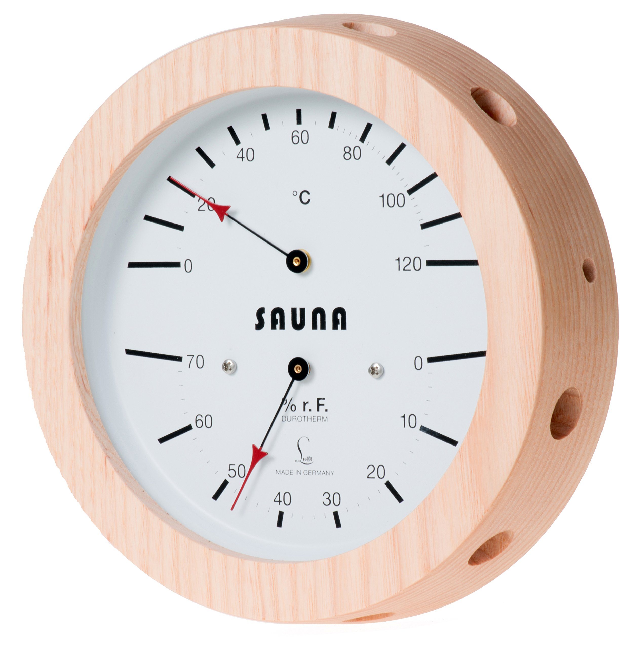 LUFFT Sauna Thermometer + Hygrometer 6.3'', Natural Wood, 5076.00 (°C version)