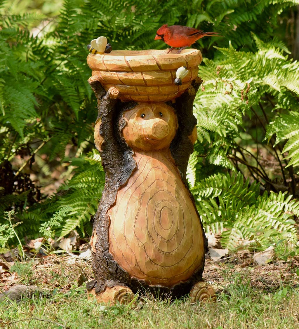 Plow & Hearth Decorative Carved Bear and Honey Bee Bird Bath - Outdoor Yard and Garden Statue - All Weather Resin - Freestanding - 11.5 Dia. x 23 H