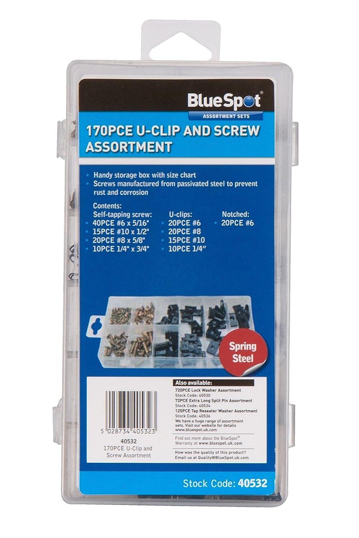 170 pi/èces Blue Spot 40532/Assortiment d/écrous /à clipper en U et Vis