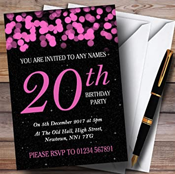 Amazon 10 X Pink Bokeh Stars 20th Customized Birthday Party