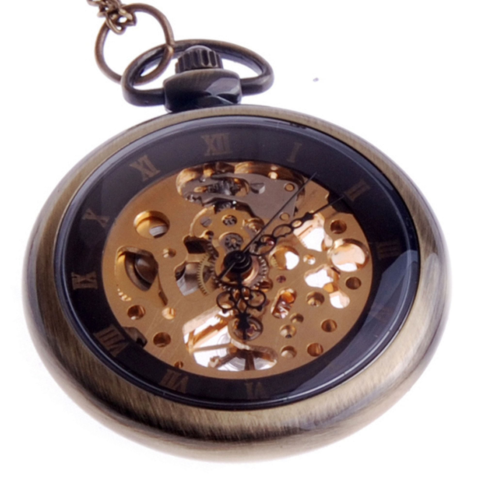 ShoppeWatch Hand Wind Mechanical Skeleton Pocket Watch Open Face Steampunk Style With Chain - PW12