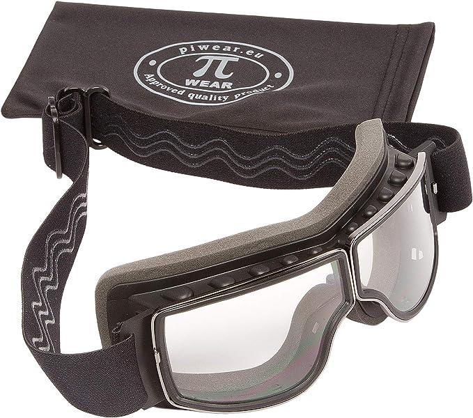 Piwear Nevada Klar Motorradbrille Für Brillenträger Geeignet Überbrille Brille über Brille Für Helm Beschlagfrei Rutschfest Gepolstert Retro Classic Auto