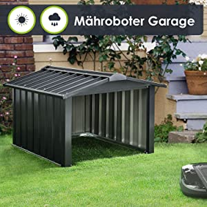 wortek M/ähroboter Garage Carport Rasenm/äher Roboter Rasenroboter Unterstand Dach Moderne Rostoptik fertig montiert Cortenstahl