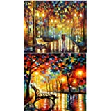 5D DIY Diamond Painting Set 5D Full Drill Embroidery Rhinestone Painting Kit 5D Decorating Wall Stickers for Living Room (40 x 30cm & 40 x 30cm Walking in The Rainy Night)2 Pack
