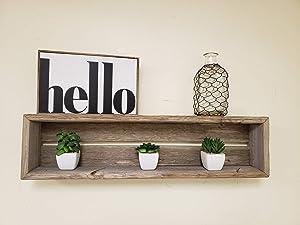 Reclaimed Wood Shadow Box Shelf with Wood Backing- Floating Shelf (Weathered Grey, Rectangle)