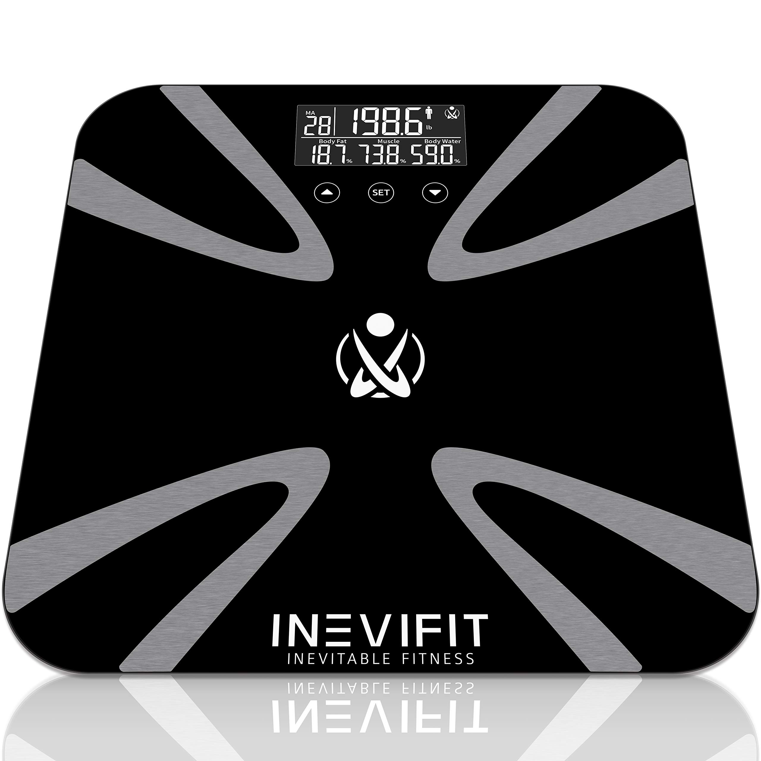 INEVIFIT Body Fat Scale, Highly Accurate Digital Bathroom Body Composition Analyzer, Measures Weight, Body Fat, Water, Muscle, BMI, Visceral Levels & Bone Mass for 10 Users. 5-Year Warranty by INEVIFIT