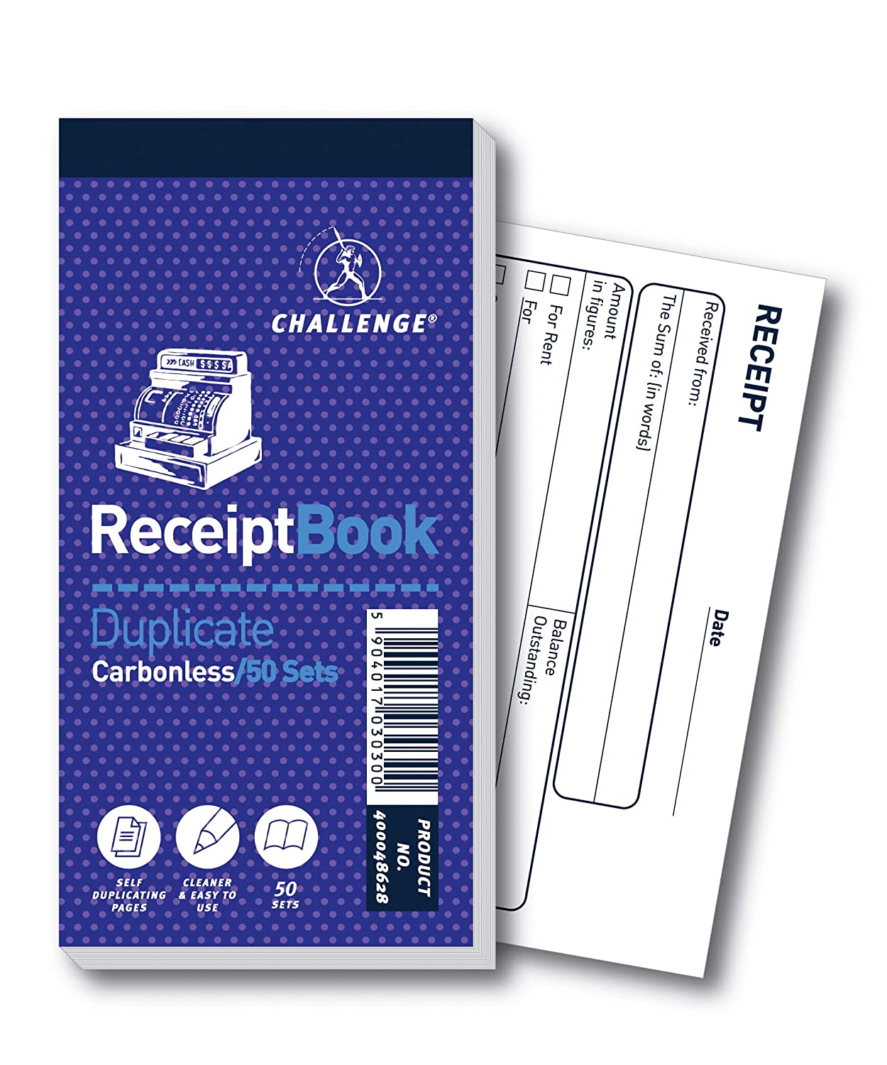 50 Pages Challenge 140 x 70 mm Duplicate Receipt Book Carbonless