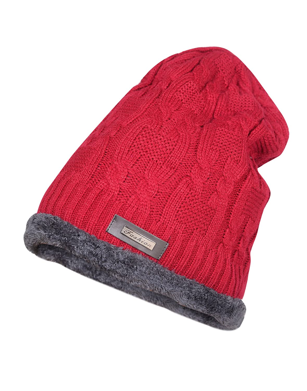 Krystle Men s Wool Knitted Cotton Warm Winter Hat with Inside Fur Beanie ( Red 49ae07c1382
