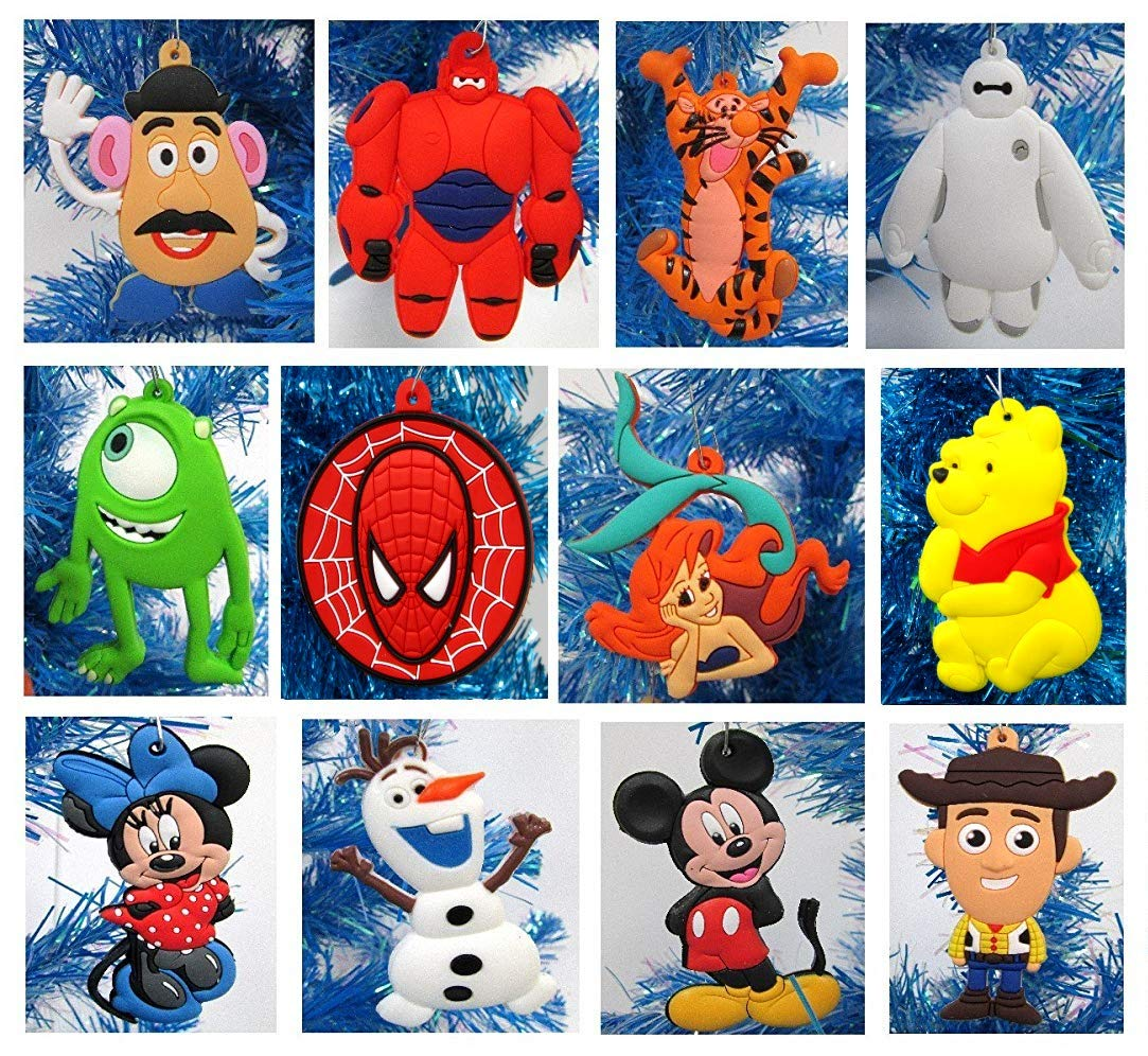 Tigger Christmas Ornaments.Disney 12 Piece Christmas Ornament Set With Woody Pooh Bear Tigger Baymax Ariel Mickey Mouse Minnie Mouse Olaf More Unique Shatterproof