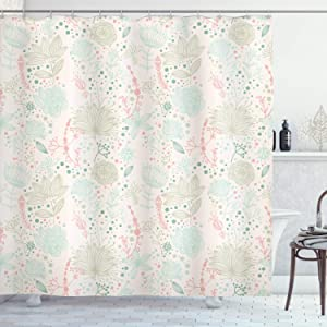 "Ambesonne Floral Shower Curtain, Vintage Soft Floral with Dotted Background Nature Inspiration Image, Cloth Fabric Bathroom Decor Set with Hooks, 75"" Long, Mint Green"