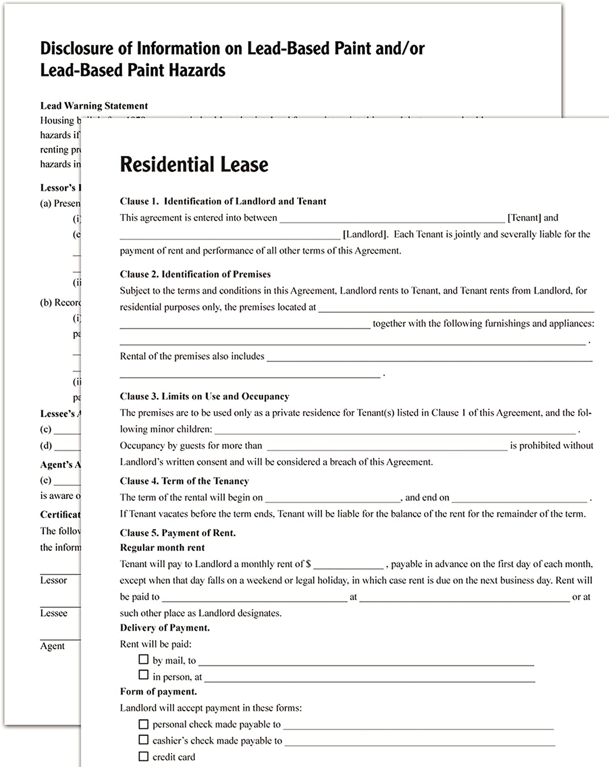 Forms and Instructions for Residential Lease,3.68 Ounces