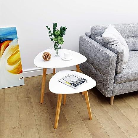 Amazon.com: Juego de 2 mesas auxiliares de bambú con forma ...
