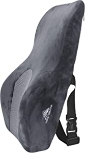 High Sierra HS1436 \ Full Size Ergonomic Back Support Pillow \ Relieves Painful Pressure Points \ Premium Memory Foam \ Lumbar Cushion for Office Chair, Car, SUV \ Fits Most Seats