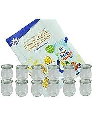 MamboCat 12er Set Weck-Gläser I hitzebeständige 220 ml Einmachgläser I Tulpenform Dessertglas mit Glas-Deckel I Marmeladen Sturzglas I Einweckglässer Nachtisch I gratis Rezeptheft