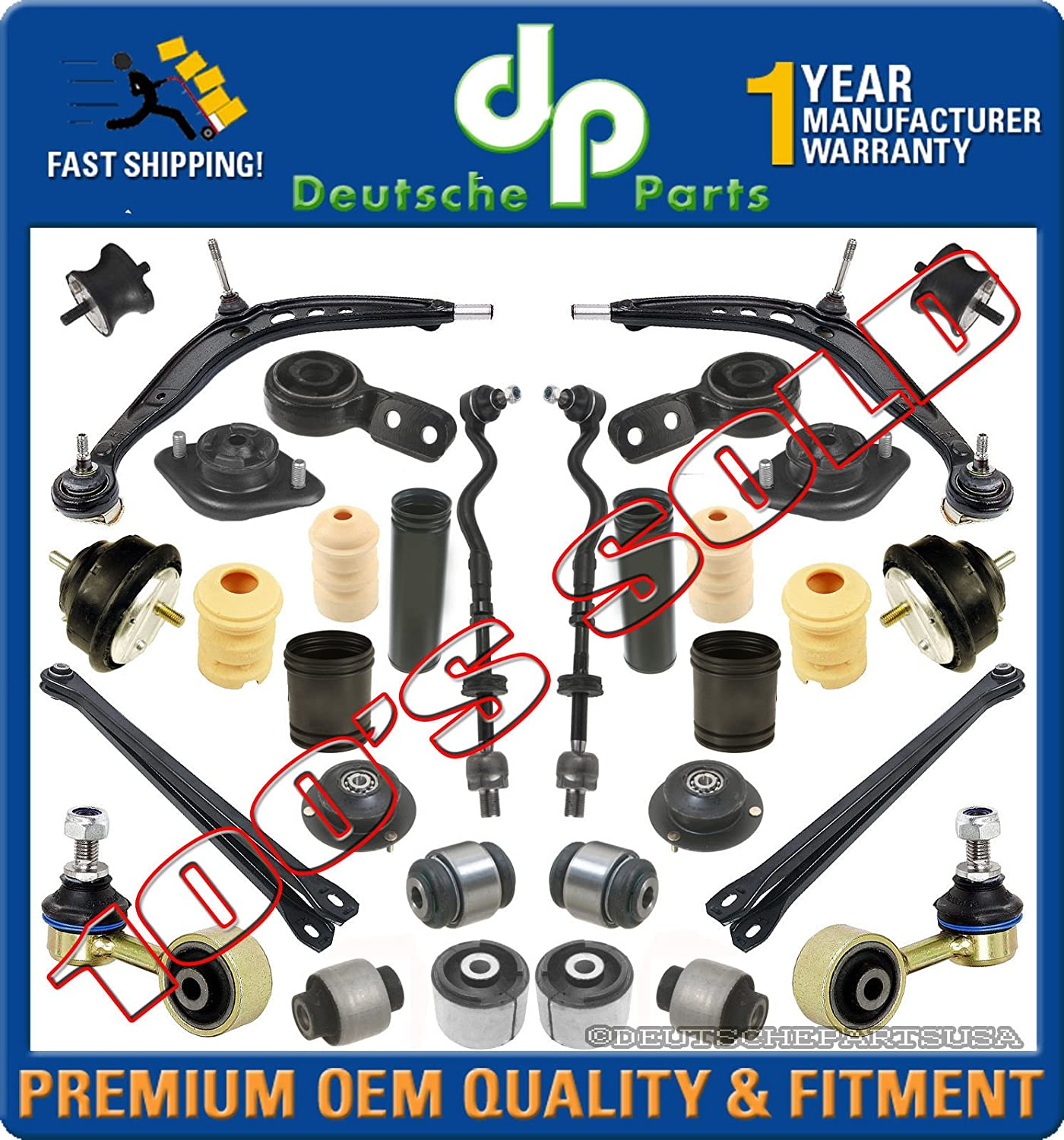 CONTROL ARM Ball Joint TIE ROD BOOT BUSHING BRACKET SUSPENSION KIT for BMW E36
