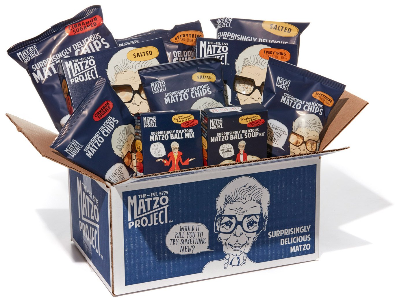 The Whole Megillah, Everything Matzo, Salted Matzo, Matzo Chips (Everything, Salted, Cinnamon Sugared), Matzo Ball Mix and Soup Kit from The Matzo Project, Contains 10 Items