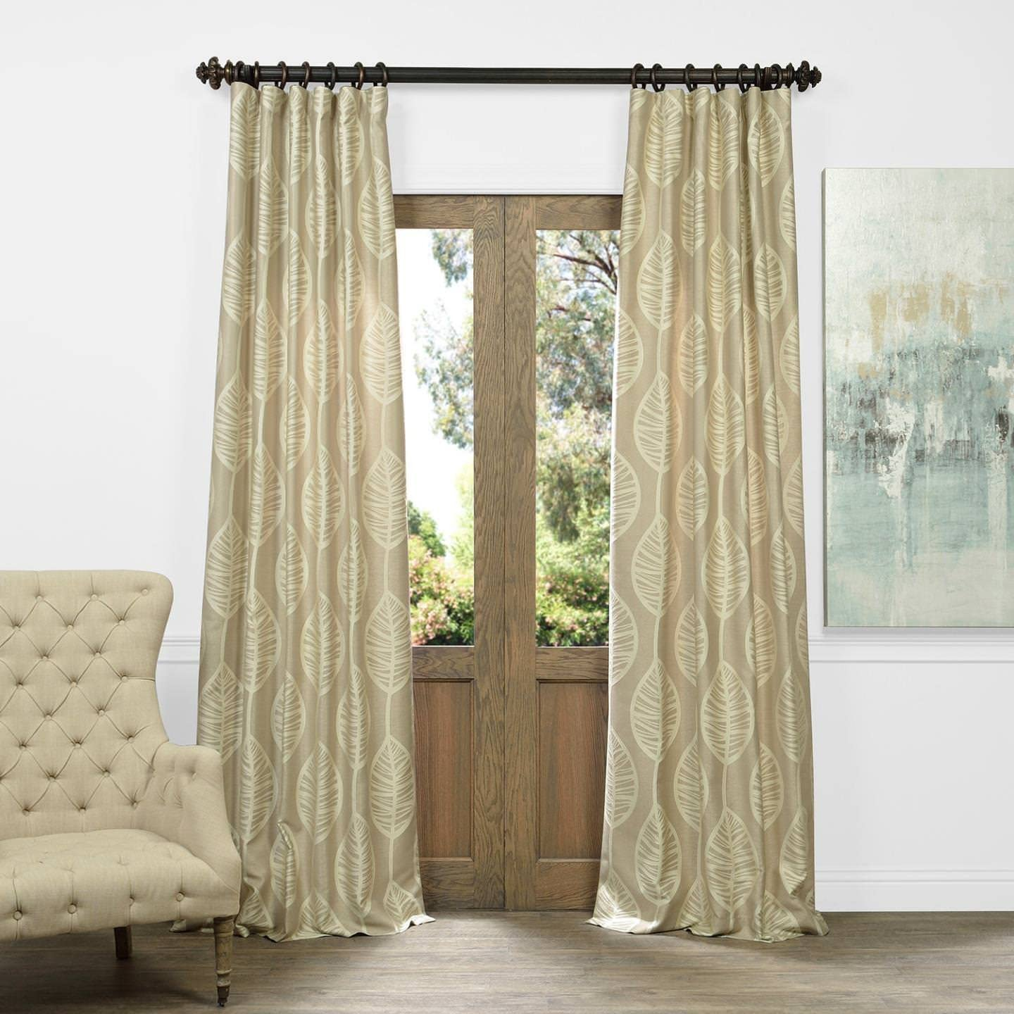 HPD Half Price Drapes JQCH-AR108201-84 Faux Silk Jacquard Curtain 1 Panel , 50 X 84, Opus Natural