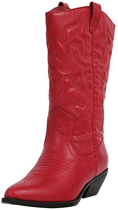 33301f3f492 Soda Women's Reno Western Cowboy Pointed Toe Knee High Pull On Tabs Boots