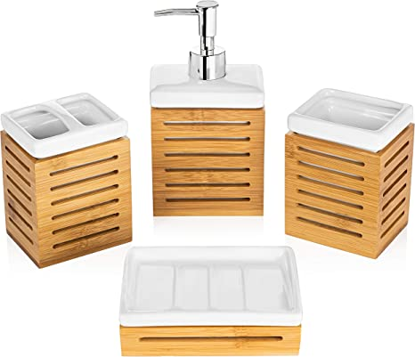 Amazon Com Homevative 4 Piece Bathroom Accessories Set Ceramic And Natural Bamboo Great For Any Bathroom Style Home Kitchen