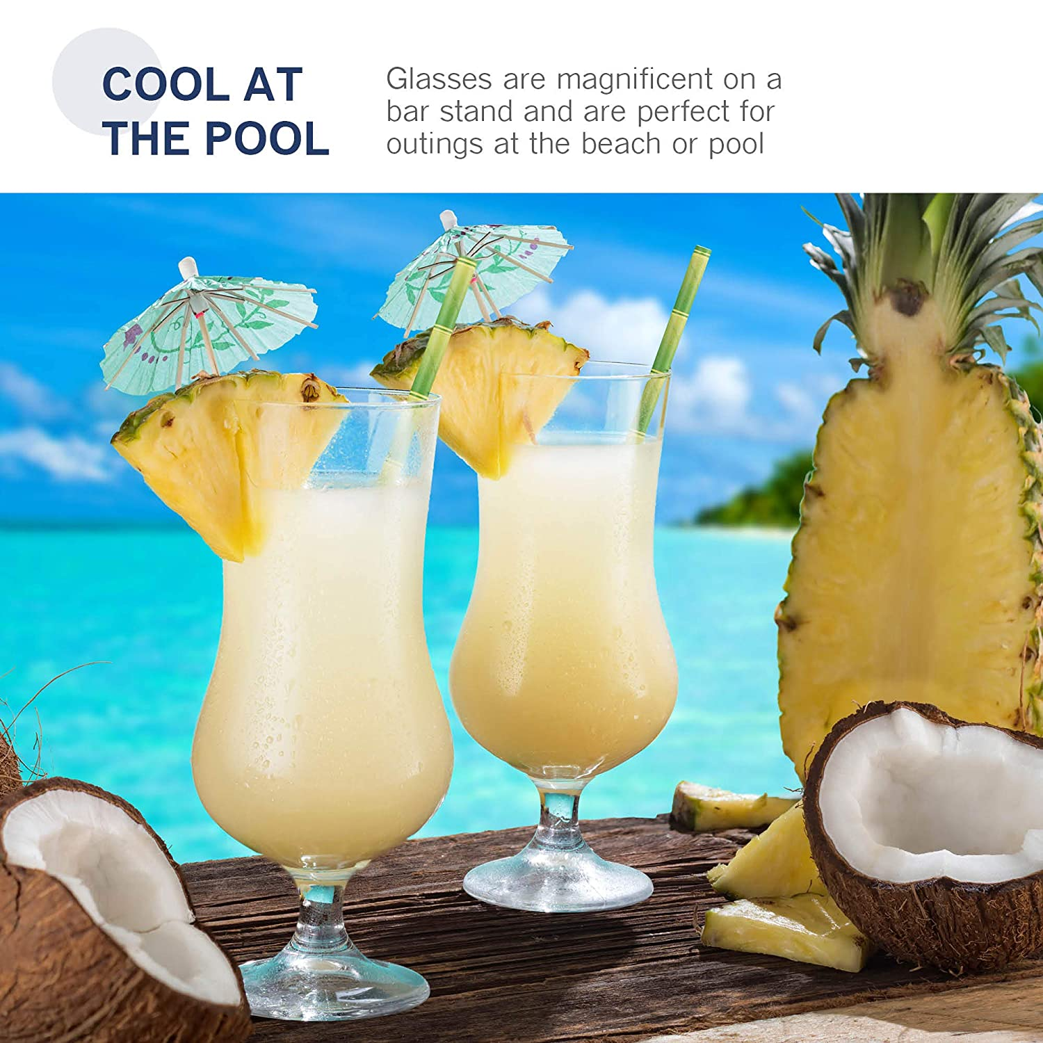 Juice Hurricane Glasses for Drinking Full Bodied Beer Water Beer Glasses Tulip Shaped 4 Pack Lead-Free Bar Glass Italian Crafted Cocktail Glasses. Bormioli Rocco 17 Ounce Pina Colada Glass